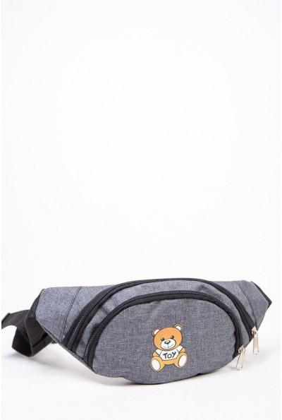 Бананка сумка на пояс с мишкой цвет Серый 154R003-40-1 53708