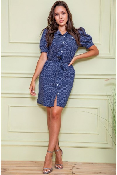 Платье-рубашка в горох  167R281 цвет Синий 61115