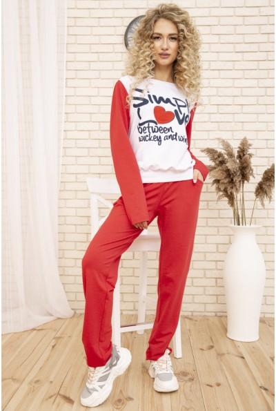 Женский костюм двунитка Свитшот и штаны цвет Бело-коралловый 167R1-2 53422