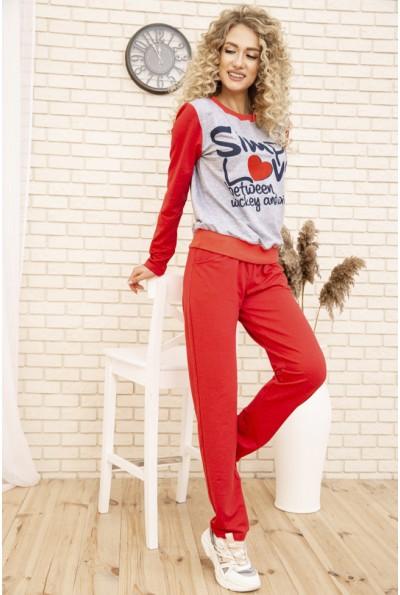Женский костюм двунитка Свитшот и штаны цвет Серо-коралловый 167R1-2