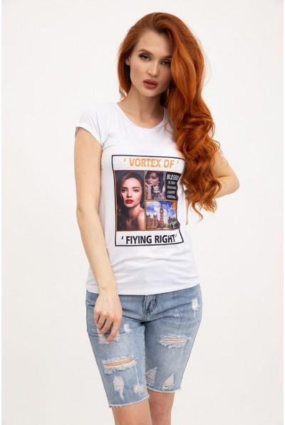 Белая женская футболка женская с фотопринтом  119R132