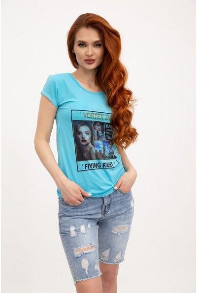 Женская футболка хлопковая голубая с принтом 119R132