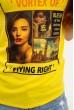 Женская футболка хлопковая желтая с принтом 119R132 скидка