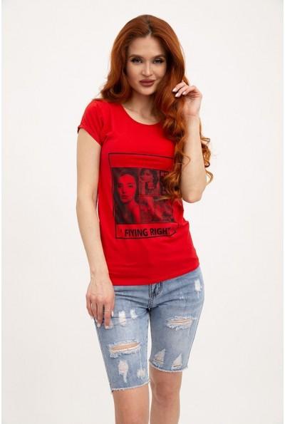 Женская футболка хлопковая красная с принтом 119R132 29823