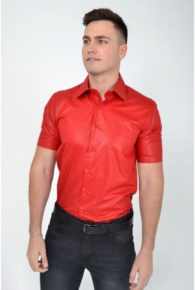 Красная мужская рубашка с короткими рукавами летняя 113RPass004 12086