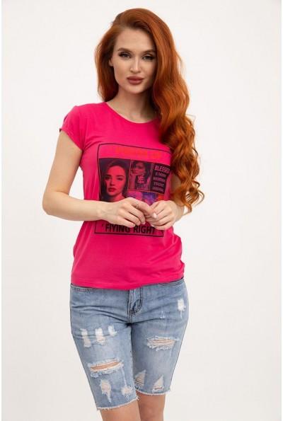 Женская футболка хлопковая малиновая с принтом 119R132 29825
