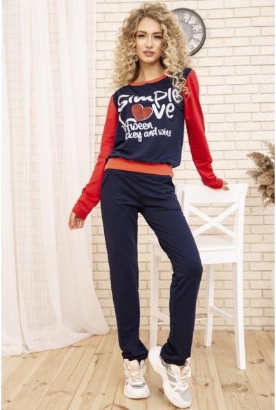 Женский костюм двунитка Свитшот и штаны цвет Синий 167R12-2 53426