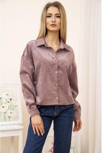 Женская куртка рубашка вельветовая цвет Пудровый 15R386 52199