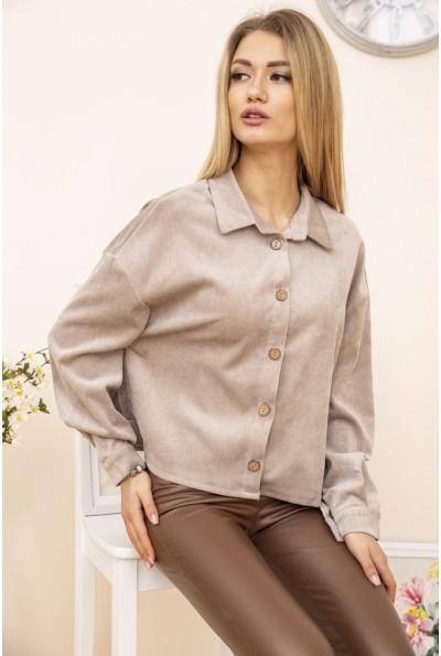 Женская куртка рубашка вельветовая цвет Бежевый 15R386