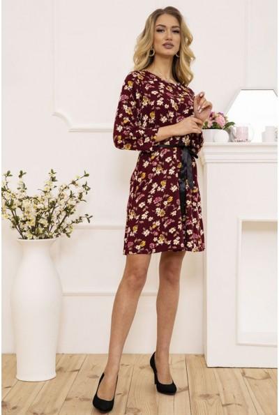 Платье женское с поясом с цветочным принтом цвет Бордовый 115R396-8