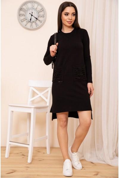 Короткое прямое платье с карманами цвет Черный 167R30-1