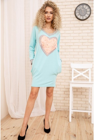 Свободное женское платье с сердцем цвет Бирюзовый 167R2-3 54169