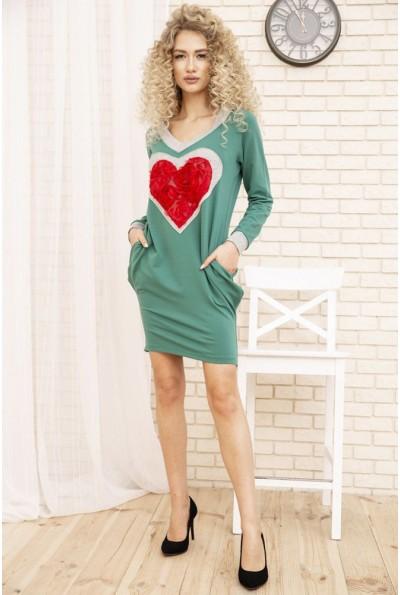 Свободное женское платье с сердцем цвет Зеленый 167R2-3 54171
