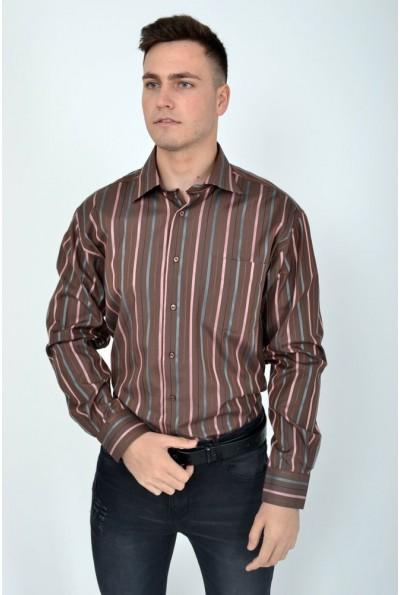 Коричневая мужская рубашка в полоску 113RPia0019