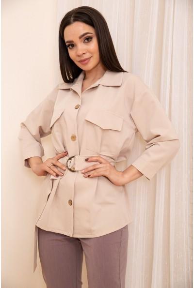 Женская рубашка с поясом и карманами цвет Светло-бежевый 115R399-1 53788