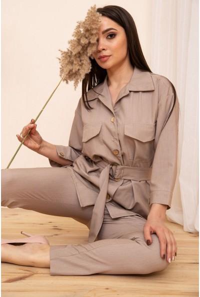 Женская рубашка с поясом и карманами цвет Бежевый 115R399-1