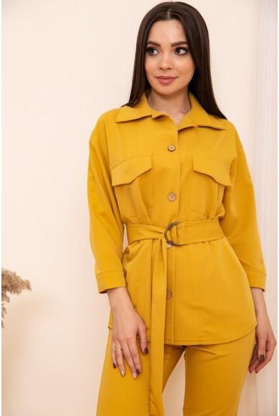 Женская рубашка с поясом и карманами цвет Горчичный 115R399-1