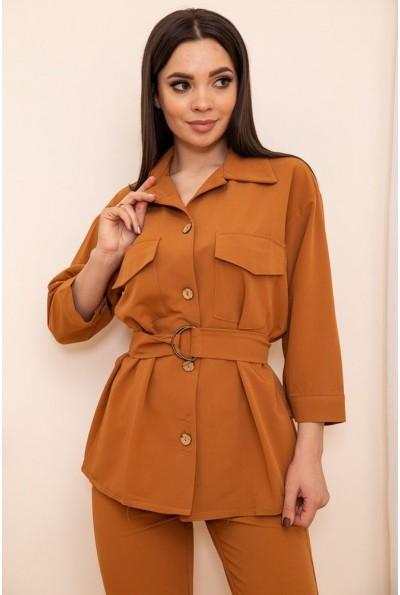 Женская рубашка с поясом и карманами цвет Коричневый 115R399-1 53782