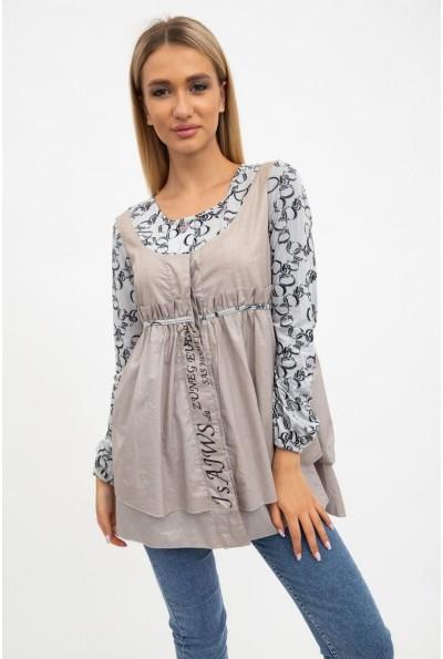 Рубашка обманка женская, хлопковая кофейная с принтом 137R001