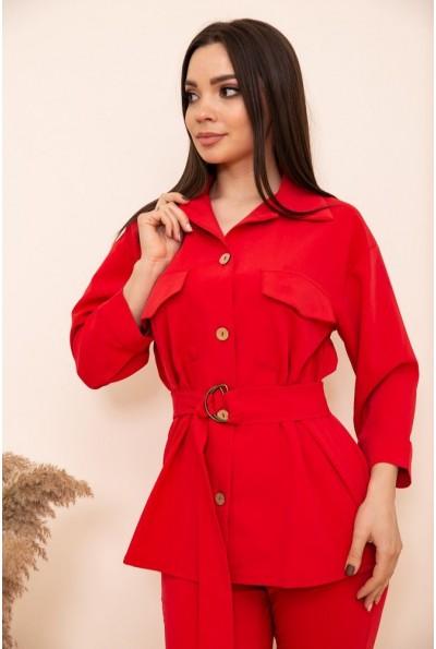 Женская рубашка с поясом и карманами цвет Красный 115R399-1 53784