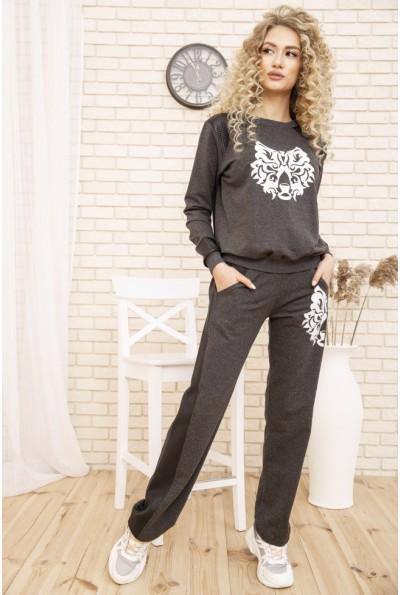 Женский прогулочный костюм двунитка Свитшот и штаны с лампасам Темно-серый 167R7-2 53383
