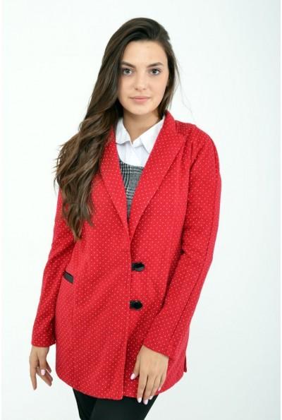 Красный женский кардиган в горошек 115R071
