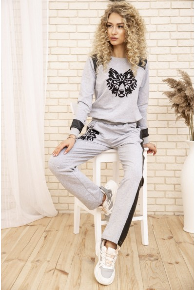 Женский прогулочный костюм двунитка Свитшот и штаны с лампасам Серый 167R7-2 53381