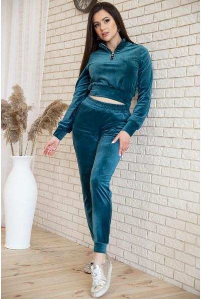 Спортивный  костюм женский велюровый  119R279 цвет Изумрудный 54570