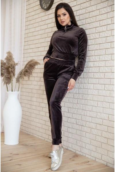 Спортивный  костюм женский велюровый  119R279 цвет Коричневый 54572