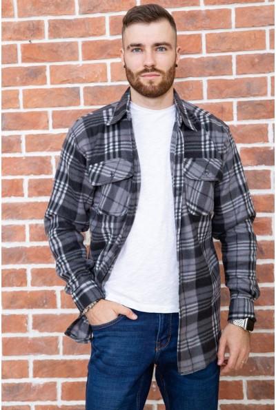 Рубашка байковая в клетку мужская  цвет серо-черный 129R16115 67165
