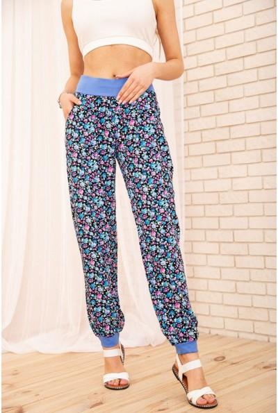 Летние хлопковые штаны с цветочным принтом цвет Синий 172R63-1 54952