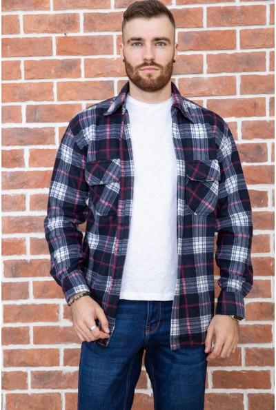 Рубашка байковая в клетку мужская  цвет сине-серый 129R16115 67173