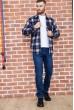 Рубашка байковая в клетку мужская  цвет сине-серый 129R16115 недорого