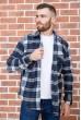 Купить Рубашка байковая в клетку мужская  цвет сине-белый 129R16115 67167