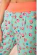 Летние хлопковые штаны с цветочным принтом цвет Бирюзовый 172R63-1 скидка