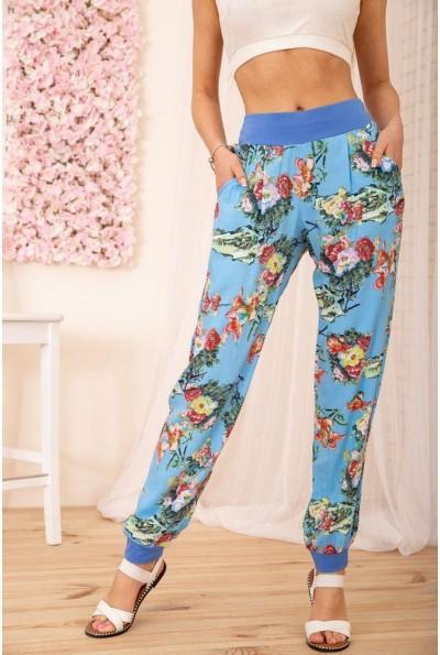 Летние хлопковые штаны с цветочным принтом цвет Голубой 172R63-1 54948