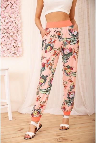Летние хлопковые штаны с цветочным принтом цвет Розовый 172R63-1