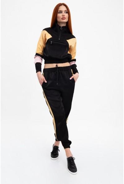 Спортивный костюм женский, черный с золотыми вставками 103R2003