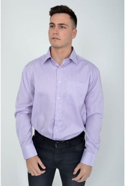 Мужская рубашка в полоску с длинными рукавами сиреневая 22#LS
