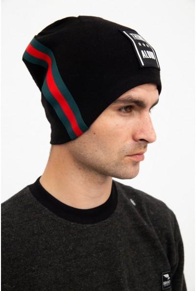 Стильная шапка мужская черная 126R032