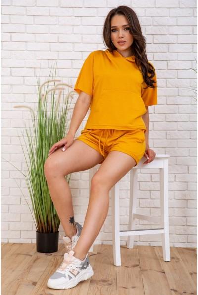 Летний костюм женский укороченный худи и шорты цвет Горчичный 102R195-1 57550