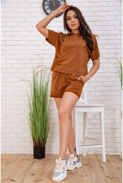 Летний костюм женский укороченный худи и шорты цвет Коричневый 102R195-1 57546