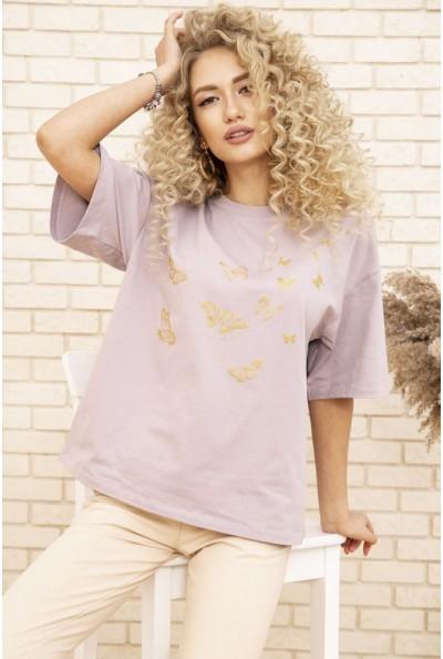 Женская футболка оверсайз с принтом Бабочки Сиреневая 102R185 53477