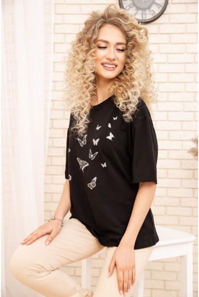Женская футболка оверсайз с принтом Бабочки Черная 102R185 53479