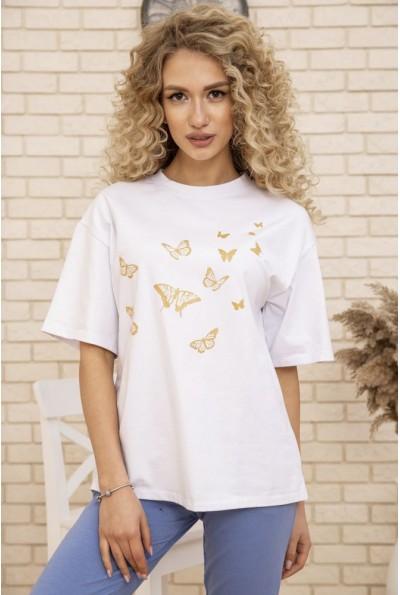 Женская футболка оверсайз с принтом Бабочки Белая 102R185