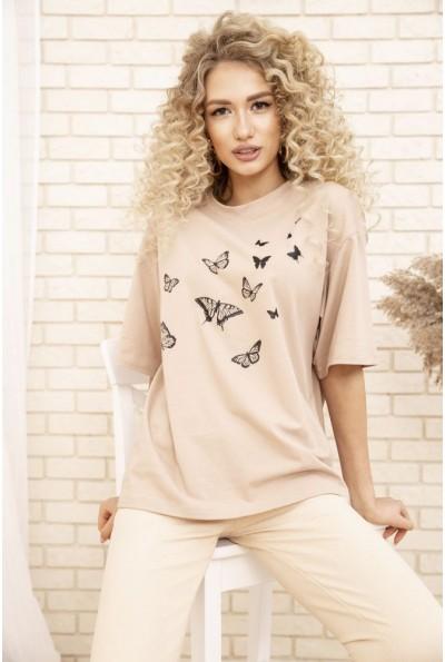 Женская футболка оверсайз с принтом Бабочки Бежевая 102R185