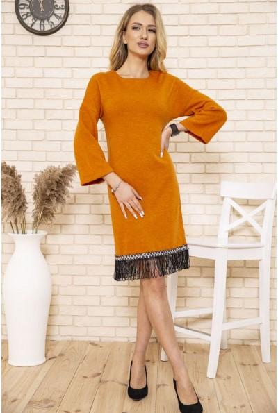 Платье женское миди с бахромой цвет Горчичный 167R1628 50203