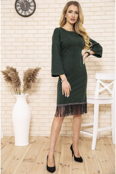 Платье женское миди с бахромой цвет Зеленый 167R1628 50201