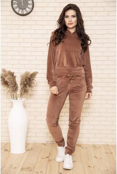 Спортивный костюм женский велюровый цвет Коричневый 102R166 49462