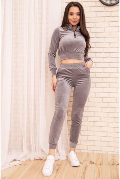 Спорт костюм женский велюровый 119R279-1 цвет Серый 54585